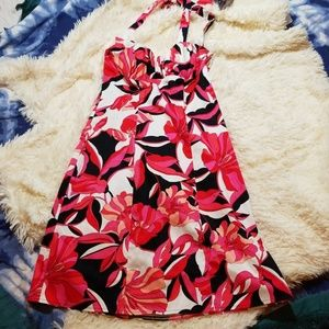 CACHE Dressfloral halter dress with sode zipper.